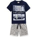 Conjunto Milon Bebê Masculino Camiseta Estampada + Bermuda Moletom