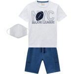Conjunto Milon Infantil Masculino Camiseta + Bermuda Moletom + Máscara