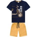 Conjunto Milon Infantil Masculino 10-12-14 Azul Marinho com Mostarda