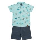 Conjunto Dila Bebê Masculino Camisa em Malha e Bermuda em Brim