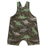 Jardineira Fakini Bebê Masculina P - M - G Verde Militar Dinossauros