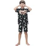 Pijama Kyly Infantil Masculino 10 ao 16 Preto Estampado