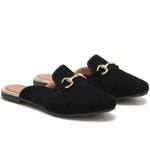 Mule Sapato Casual Confortável Estiloso - Preto
