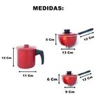 Kit Panela De Pressão Com Cuscuzeiro Vermelho