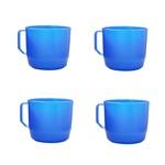 Copos plásticos com alça azul resistente infantil casa 4 und