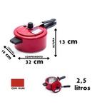 Panela de pressão vermelha rubi pequena alumínio 2,5 litros