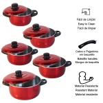 Jogo de panelas vermelhas kit 5 peças de alumínio