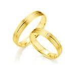 Par de Alianças de Casamentos Kiev em Ouro 18k Com Diamante