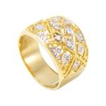 Anel Feminino Vazado em Ouro 18k com Diamantes