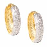 Brinco Feminino de Argola em Ouro Bicolor 18k com Diamantes