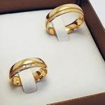 Par de Alianças de Casamento Varsóvia em Ouro 18k Com Diamantes