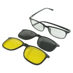 Óculos Masculino Quadrado Armação P/Grau Clip On 3 Em 1