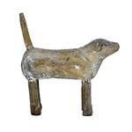 Escultura de Cachorro em Pé em Madeira P
