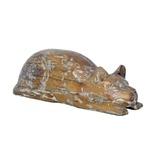 Escultura de Gato Deitado em Madeira M