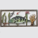 Painel peixe e cena do mar