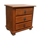 Mesa de cabeceira madeira natural com 3 gavetas