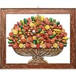 Quadro Vazado de Ânfora de Flores e Frutas - Grande