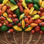 Painel Grande de Ânfora Larga com Frutas Variadas