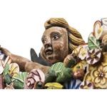 Escultura Anjo Barroco com Guirlanda de Flores