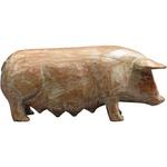 Escultura de Porco em Madeira G
