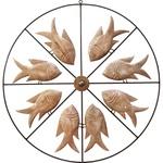 Painel Vazado Mandala com Esculturas de Peixes