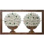 Quadro Vazado Grande de Ânforas Duplas com Flores e Folhas