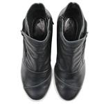 Tênis Siena Sneakers Elástico Lateral Preto Em Couro
