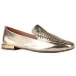 Loafer Rebeca Handmade Tramado Ouro Light Em Couro