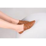 Mule Bico Fino Pietra Cuoio | Crossed Strips Salto 1,5 cm