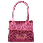 Mini Bag Estruturada Couro Prata Rosa
