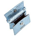 Mini Bag Estruturada Couro Azul Claro