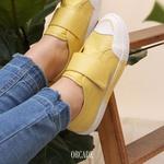 Tênis Fiorella Fechamento Em Velcro Gold Butter Em Couro