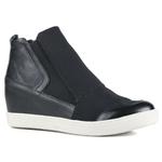 Tênis Siena Sneakers Elático Lateral Preto Em Couro e Tecido Com Elastano