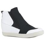 Tênis Siena Sneakers Elático Lateral Neve Em Couro e Tecido Com Elastano