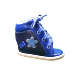 Dennis Brown sapatilha em couro azul marinho e azul bic com barra de regulagem