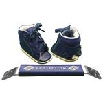 Outlet Dennis Brown sapatilha em couro azul marinho com barra de regulagem