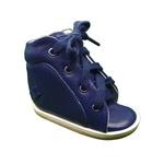 Dennis Brown sapatilha em couro azul marinho com barra de regulagem