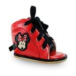 Outlet Dennis Brown Minnie sapatilha em couro vermelha com barra de regulagem