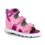 Sandália cano alto 3 velcros em couro rosa bebê e pink metálico espacial