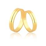 Aliança Noivado e Casamento de Ouro 18k