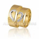 Aliança Coração em Ouro 18k com Diamantes