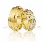 Aliança Exclusiva Com Diamantes em Ouro 18k