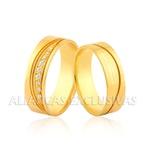 Alianças Anatômicas com Diamantes Exclusiva Ouro 18k