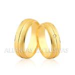 Aliança com Diamante Central em Ouro 18k