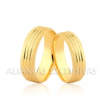 Aliança Chanfrada e Diamantada Ouro 18k