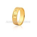 Aliança de Noivado e Casamento em Ouro 18k Fechadura
