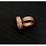 Aliança Rose Diamantada em Ouro 18k