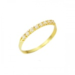 Anel Meia Aliança com Diamantes em Ouro 18k