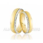 Alianças de Casamento em Ouro 18k Desenho de Ouro Branco