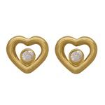 Brinco Coração Vazado em Ouro 18k